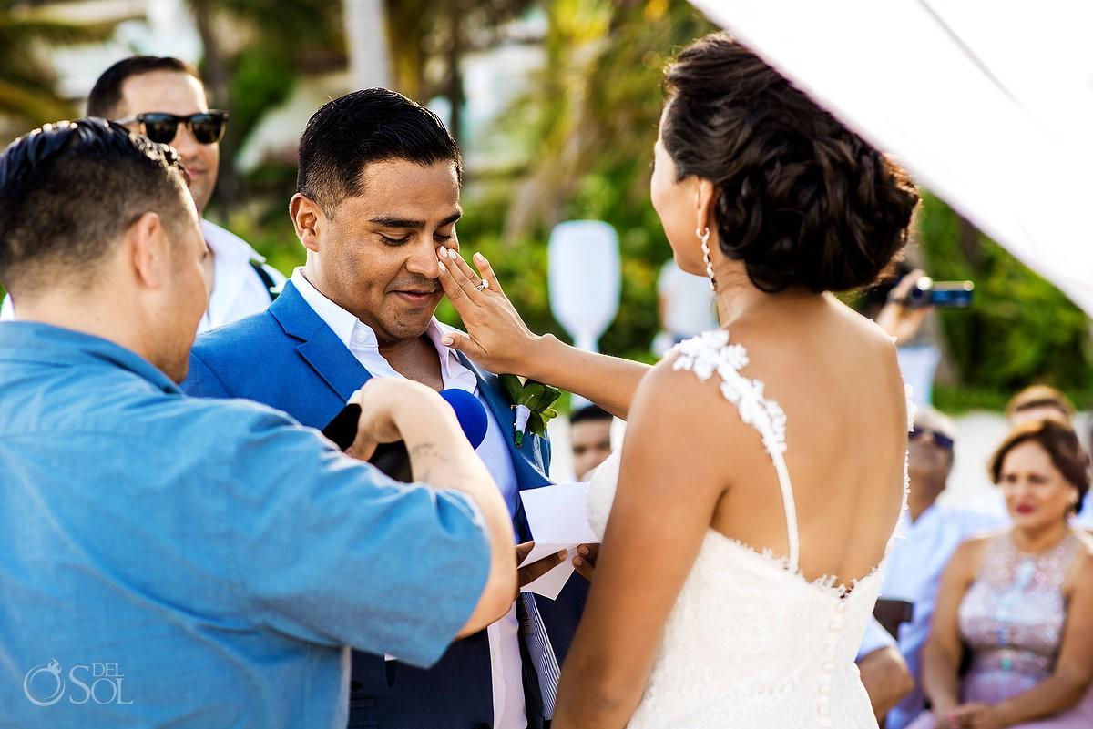 Groom Crying wedding ceremony Grand Velas Riviera Maya Playa del Carmen Mexico