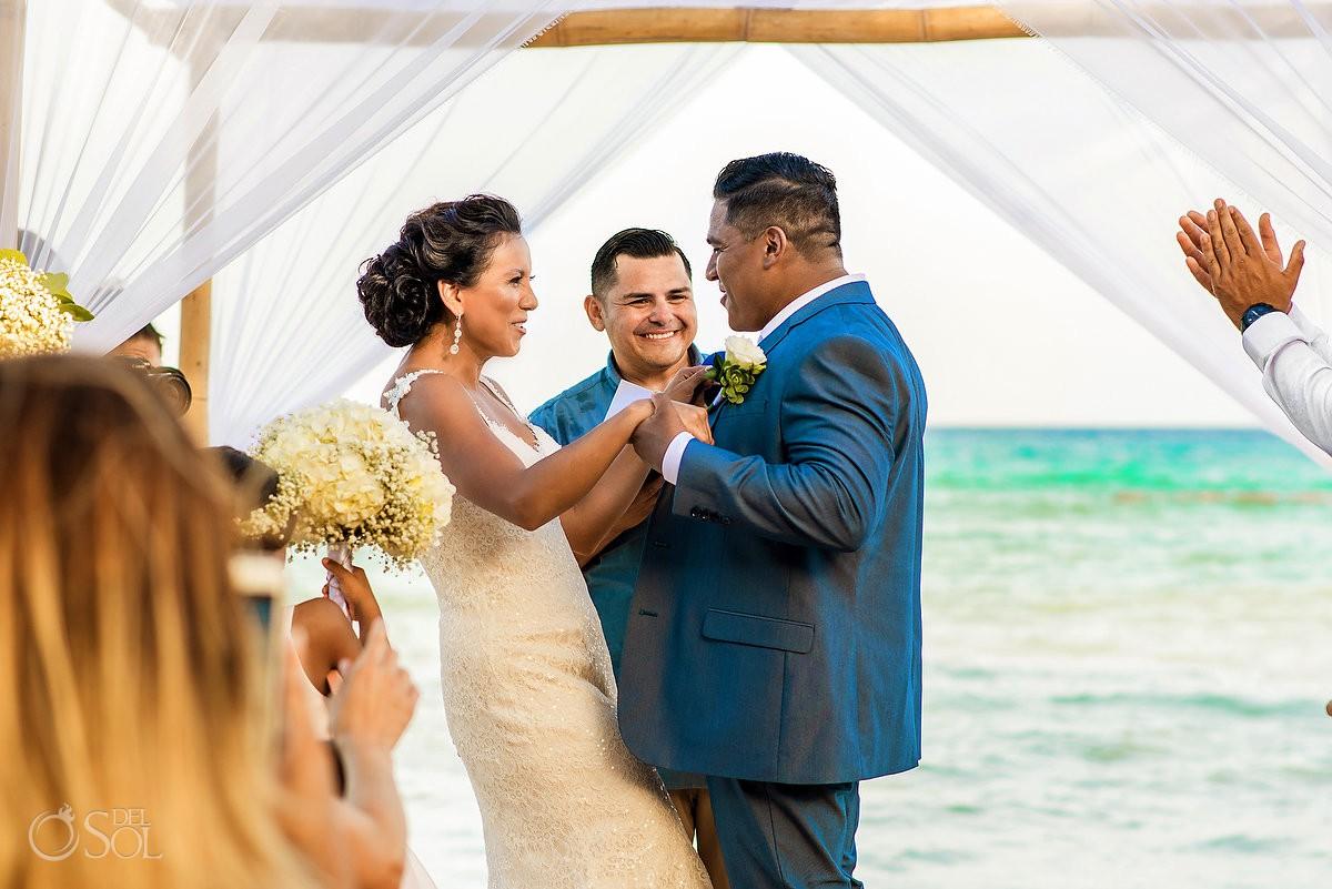 Moments before first kiss destination wedding Grand Velas Riviera Maya Playa del Carmen Mexico