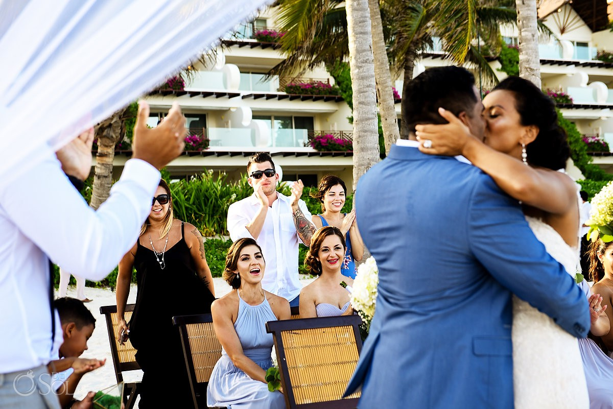 First kiss wedding ceremony Grand Velas Riviera Maya Playa del Carmen Mexico