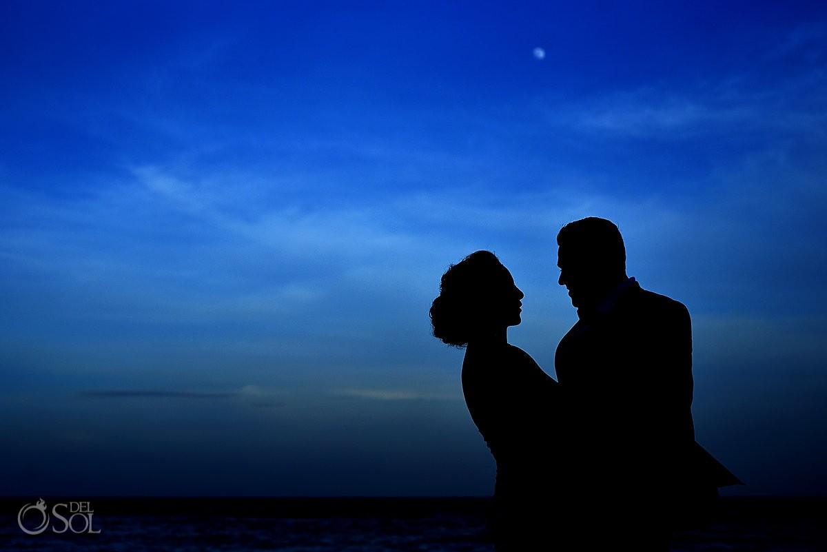Bride and Groom creative silhouette Grand Velas Riviera Maya Playa del Carmen Mexico