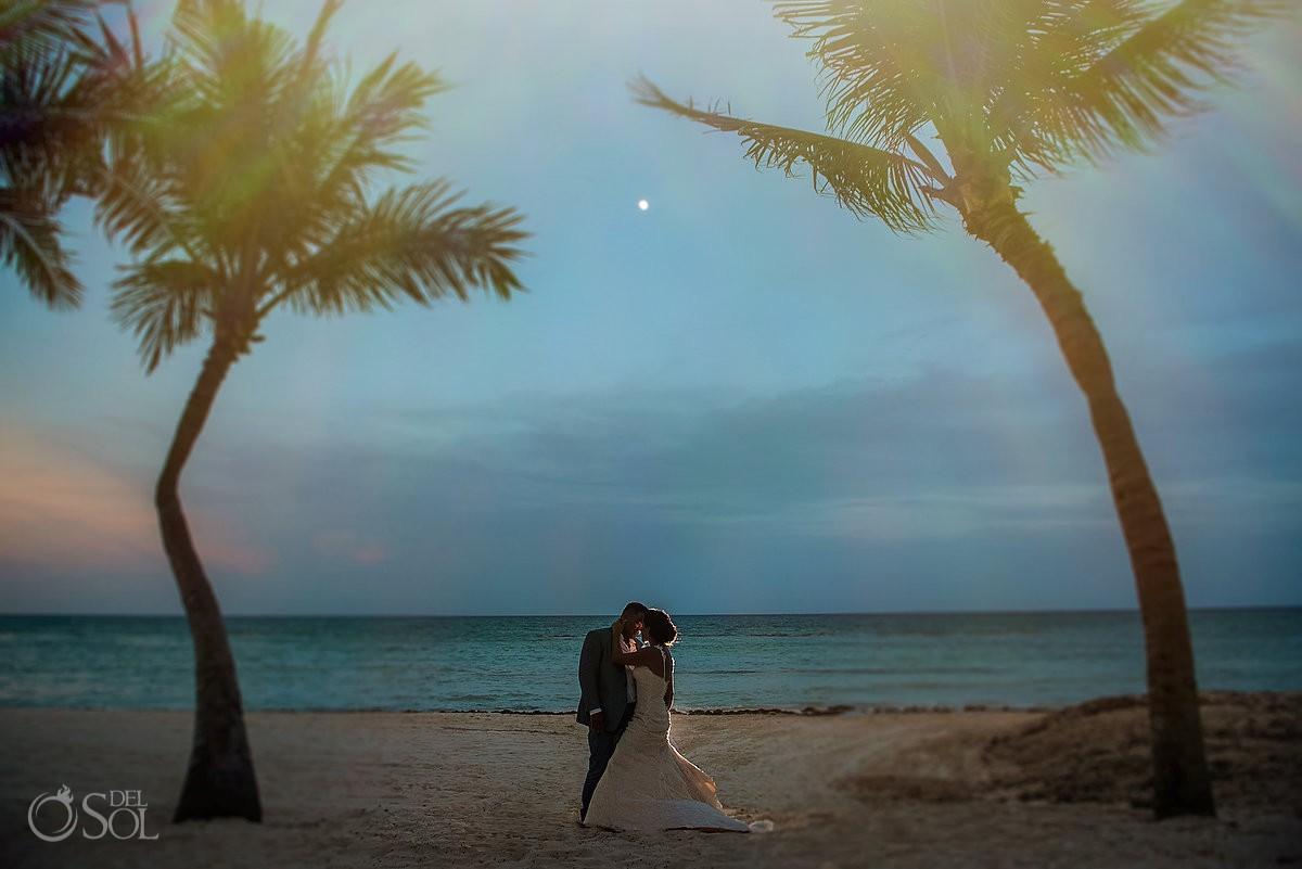 Bride and groom romantic moon portrait Grand Velas Riviera Maya Playa del Carmen Mexico