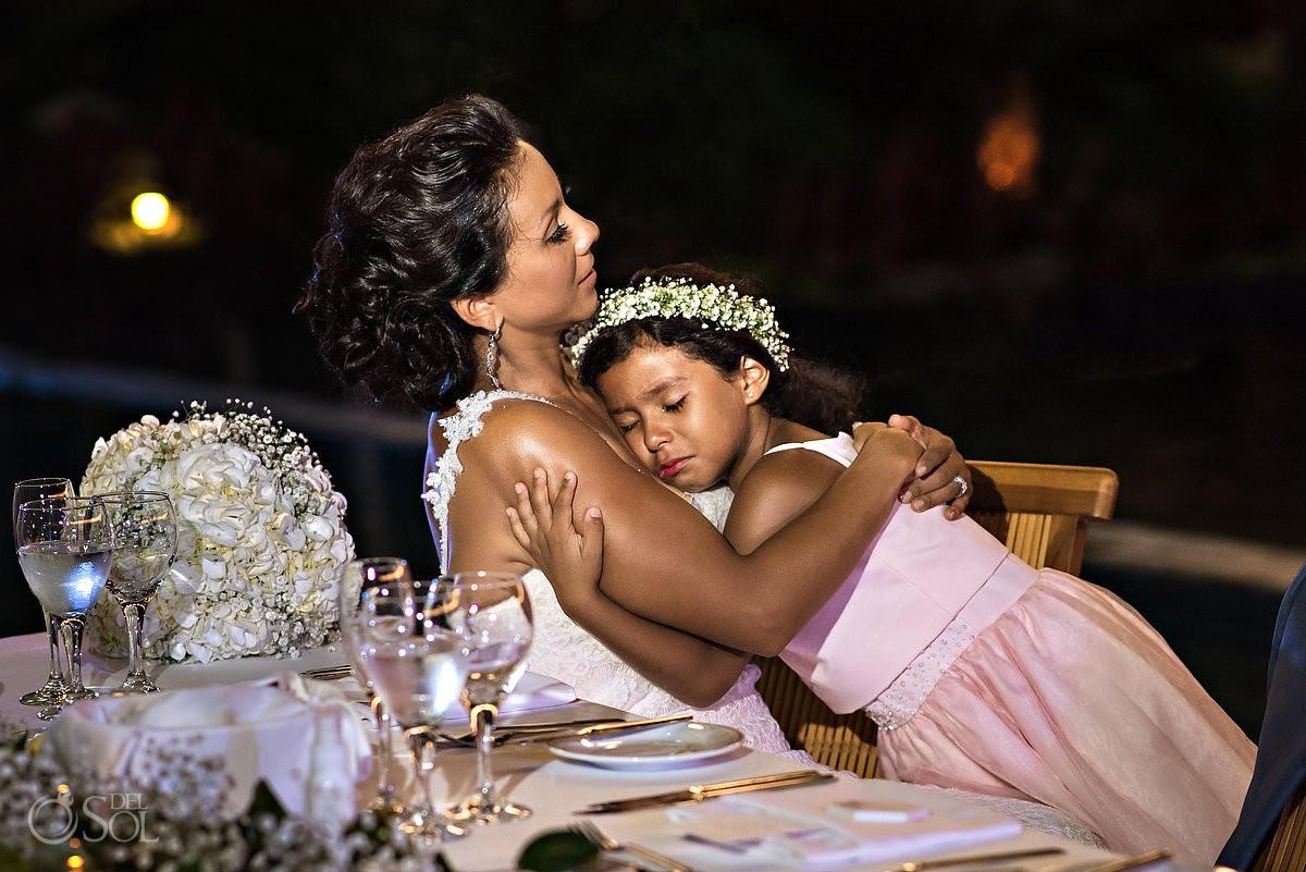 Bride and daughter beautiful moment Grand Velas Riviera Maya Playa del Carmen Mexico