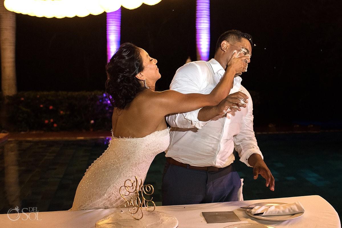 wedding reception smash the cake Grand Velas Riviera Maya Playa del Carmen Mexico