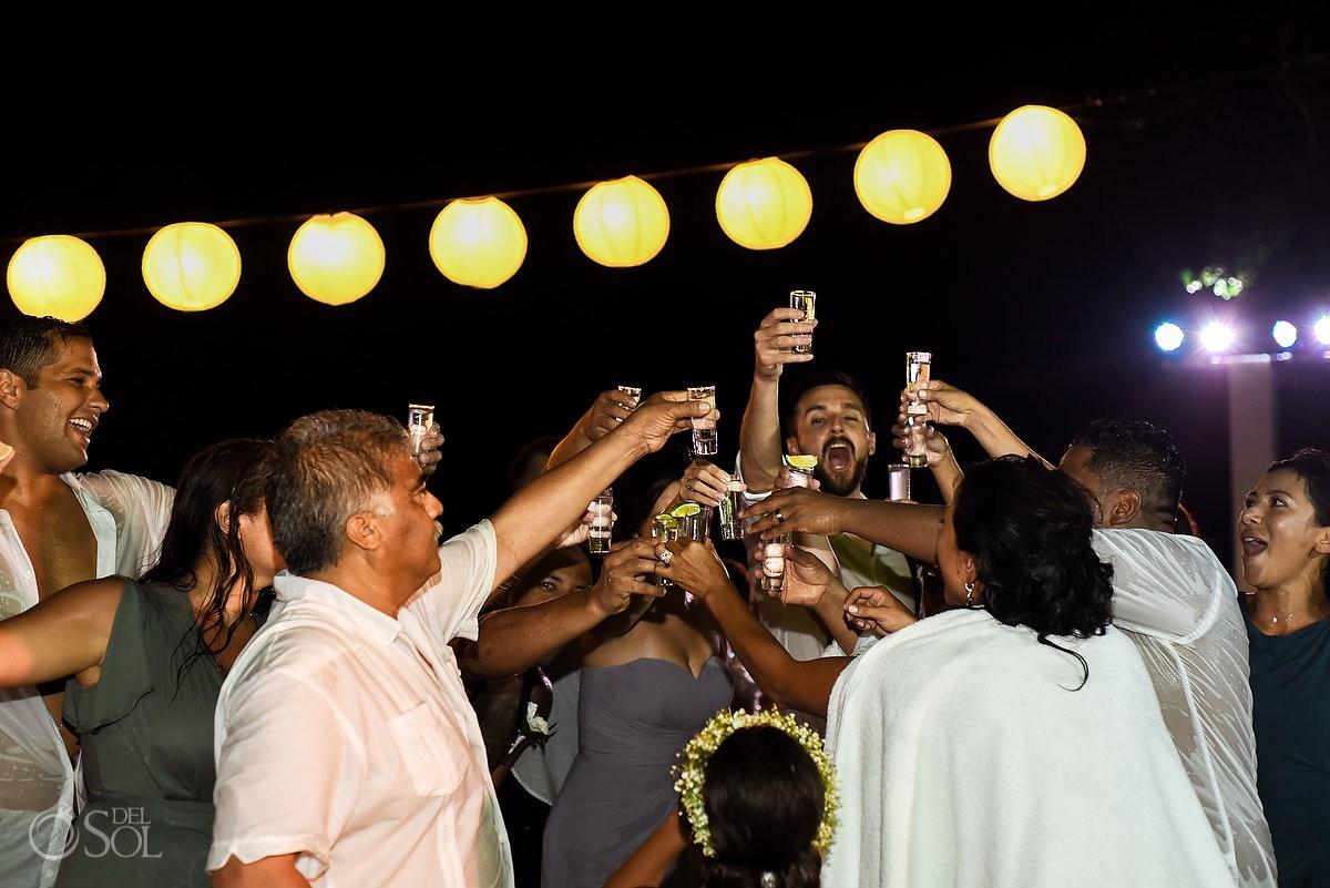Cheer wedding party fun Grand Velas Riviera Maya Playa del Carmen Mexico