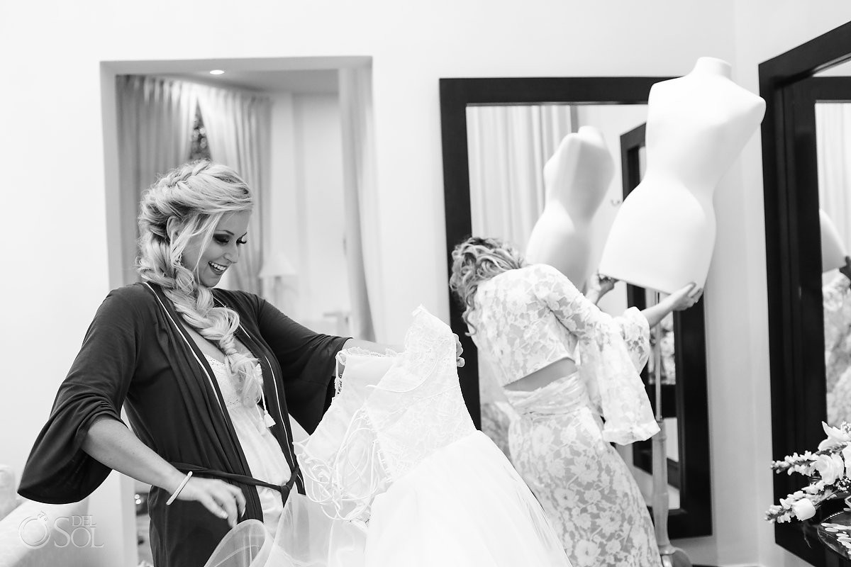 Black and white picture bride getting ready Wedding at Dreams Tulum Riviera Maya Mexico