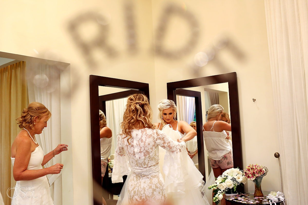 Bride getting ready Dreams Tulum Riviera Maya Mexico