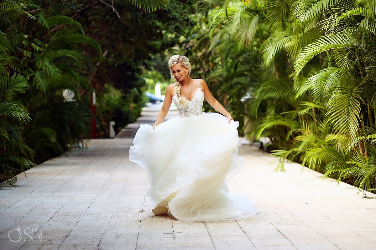 Beautiful bride wedding portrait Dreams Tulum Riviera Maya Mexico