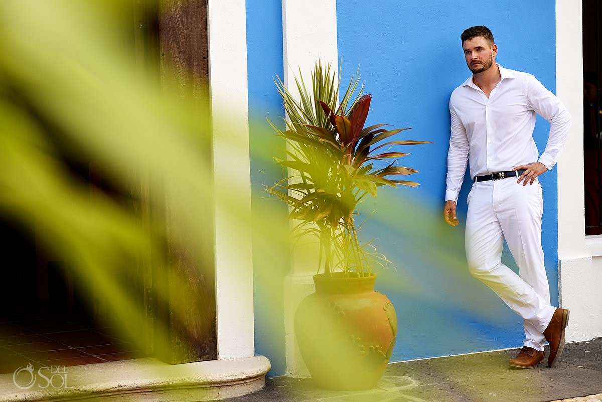 Groom portrait destination Wedding Dreams Tulum Riviera Maya Mexico