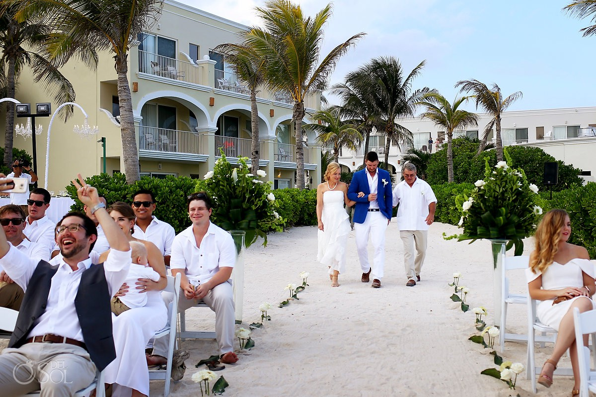 Groom entrance destination wedding Dreams Tulum Riviera Maya Mexico