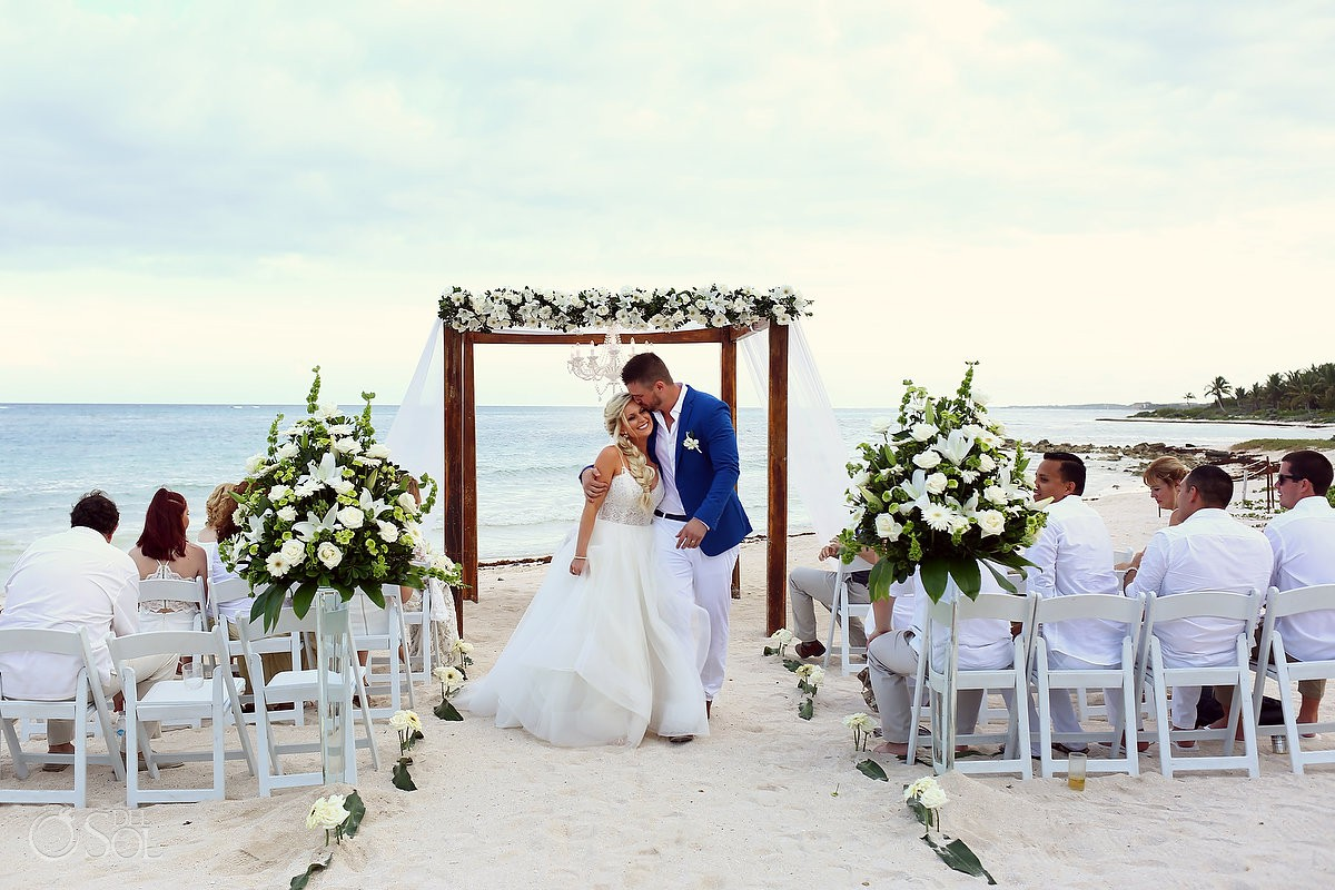 just married bride and groom beach wedding Dreams Tulum wedding Riviera Maya Mexico