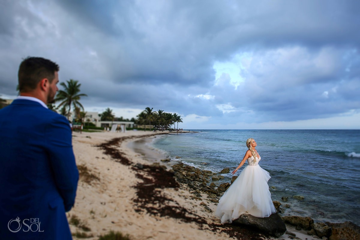 bride and groom romantic photoshoot Dreams Tulum Riviera Maya Mexico