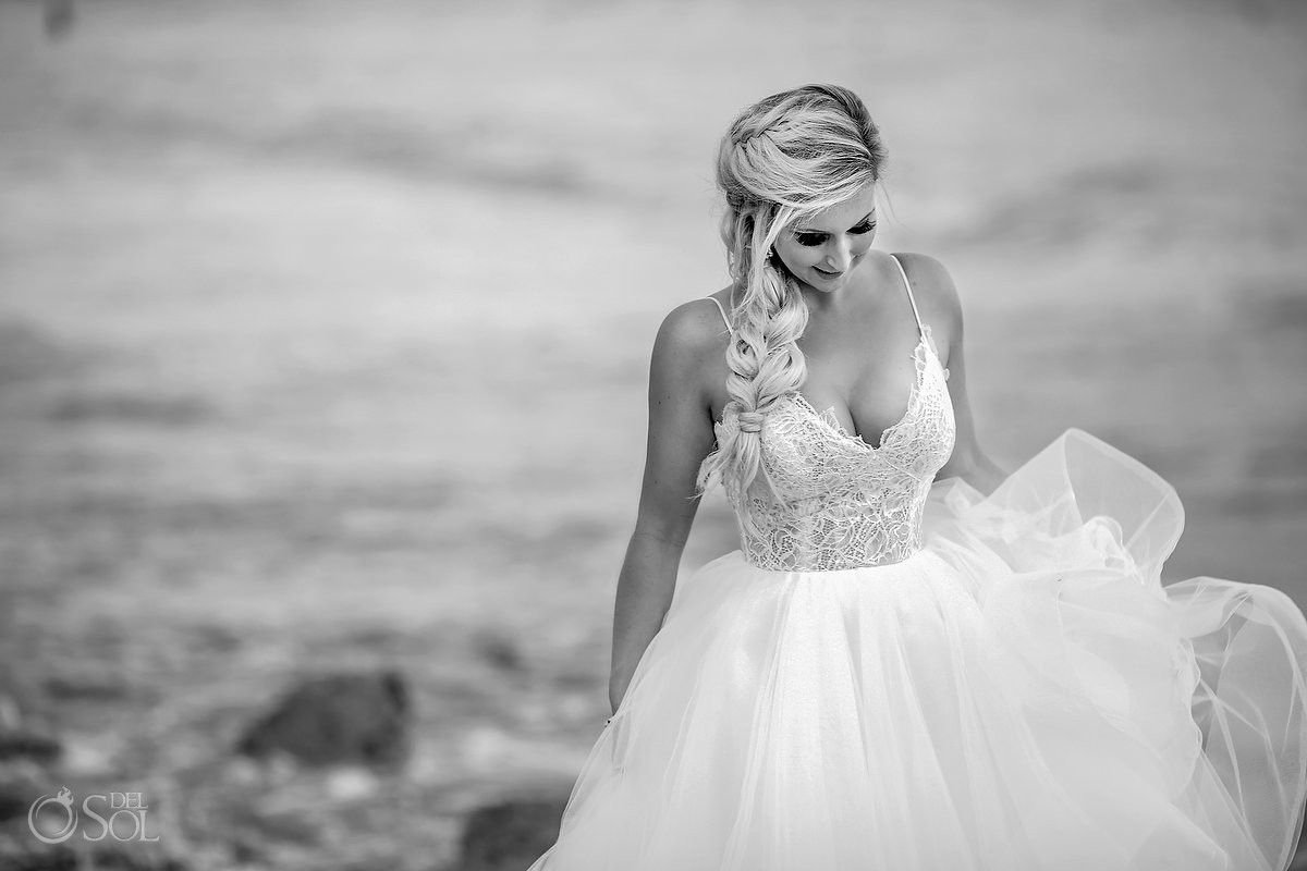 creative black and white bride portrait Dreams Tulum Riviera Maya Mexico