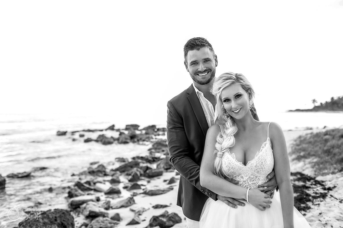 Black and white bride and groom just married wedding portraits Dreams Tulum Riviera Maya Mexico