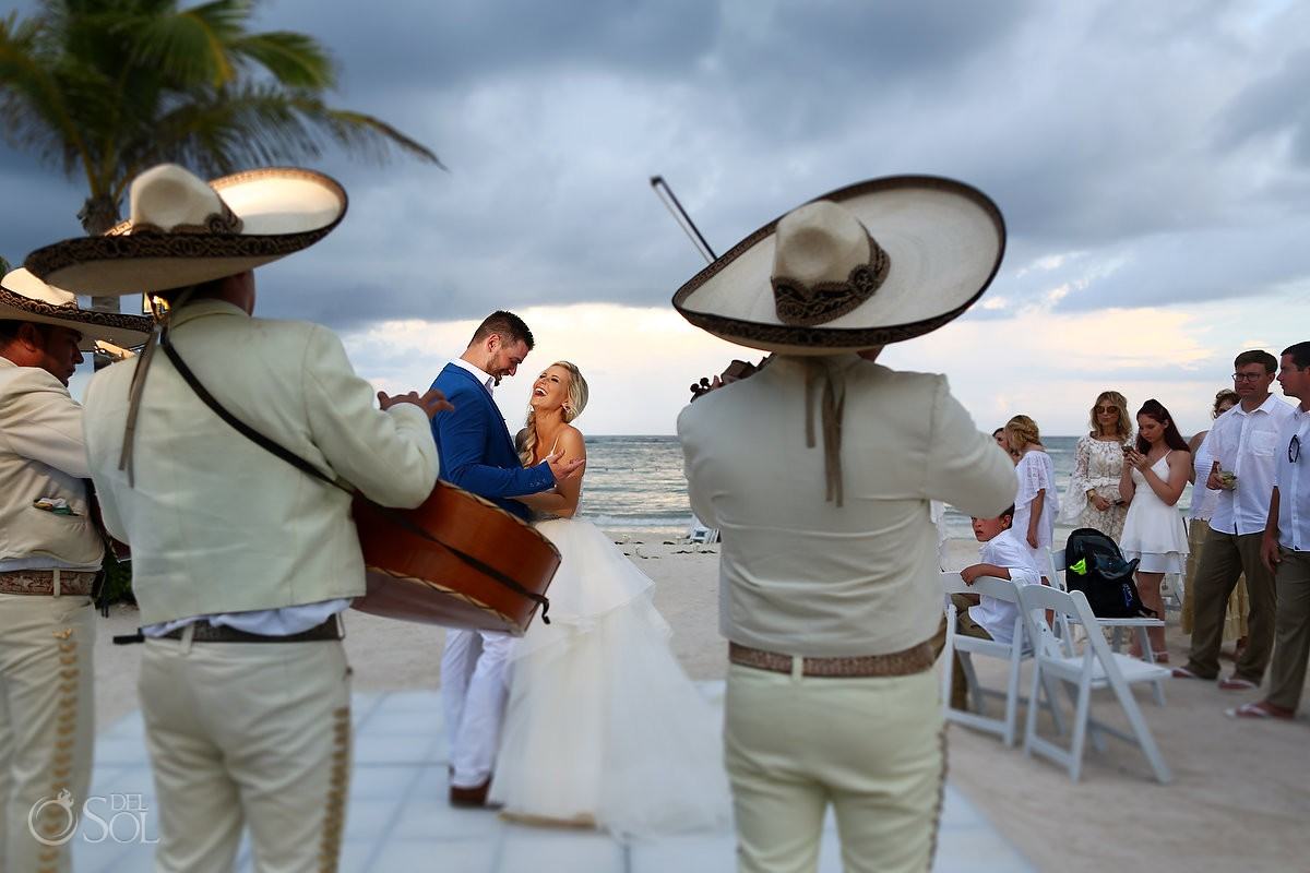 Mariachi bride and groom first dance Dreams Tulum Wedding reception Riviera Maya Mexico