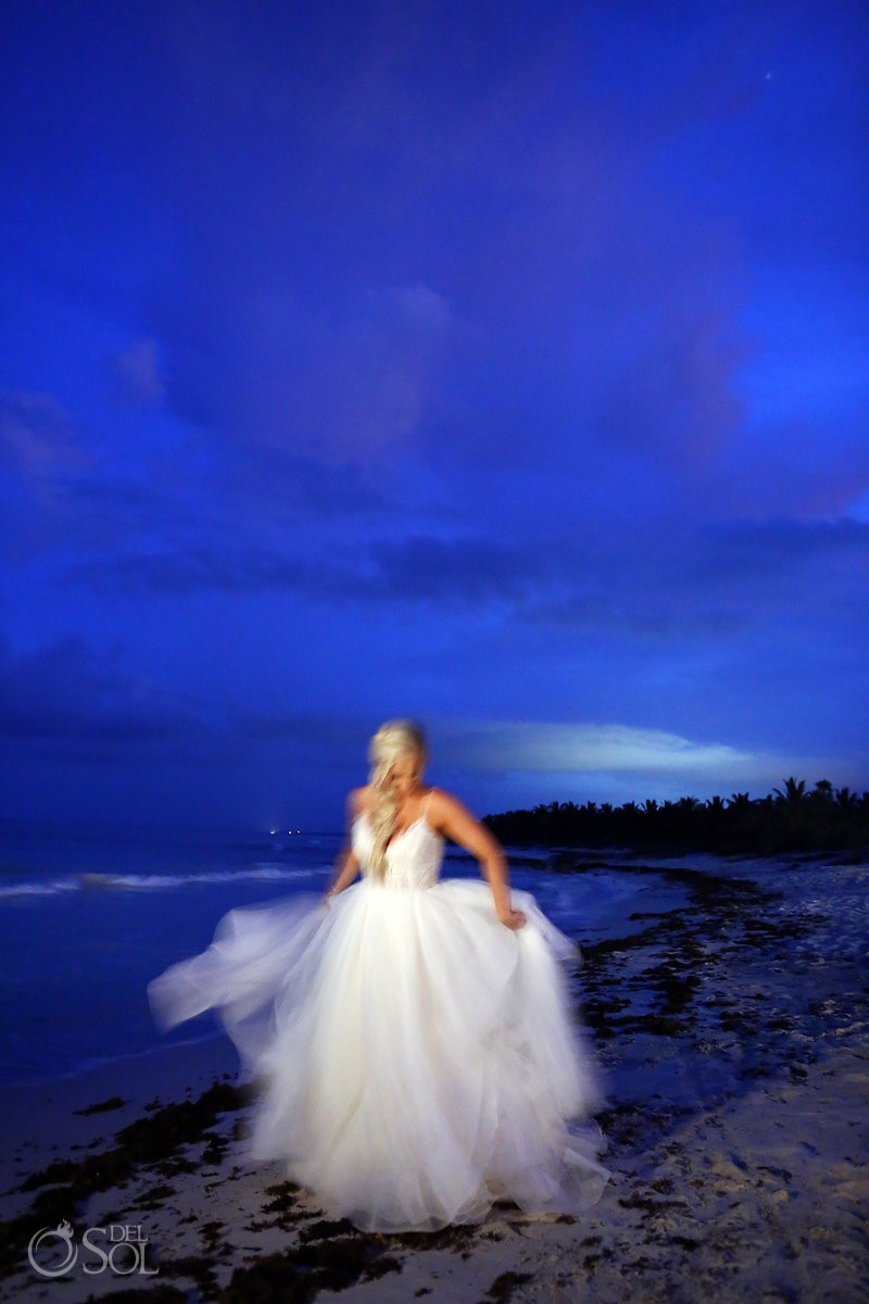 creative movement bride portrait Dreams Tulum Wedding Riviera Maya Mexico