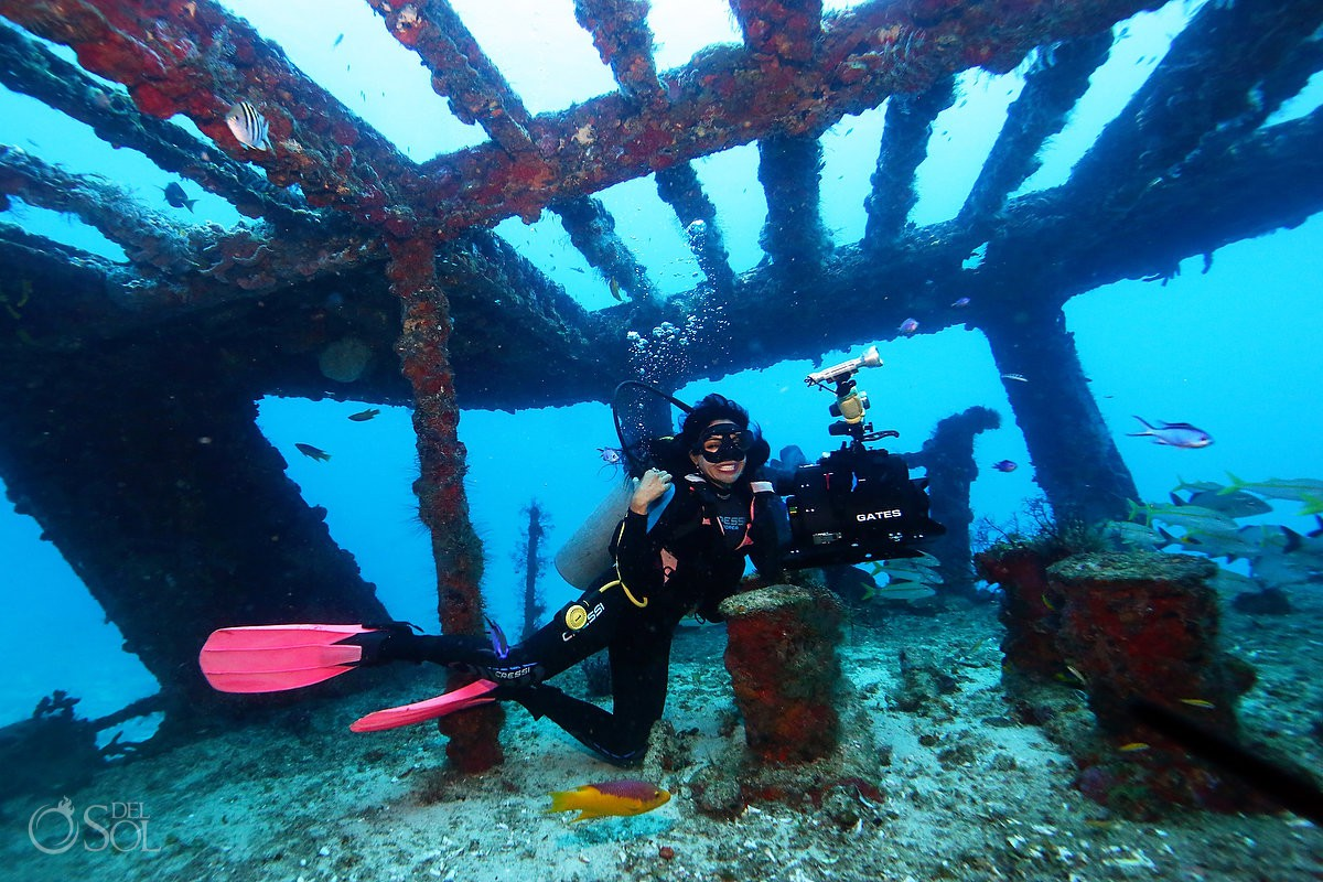 Sol Tamargo scuba diving at wreck in Cancun for Catrina Sirena reef conservation photoshoot