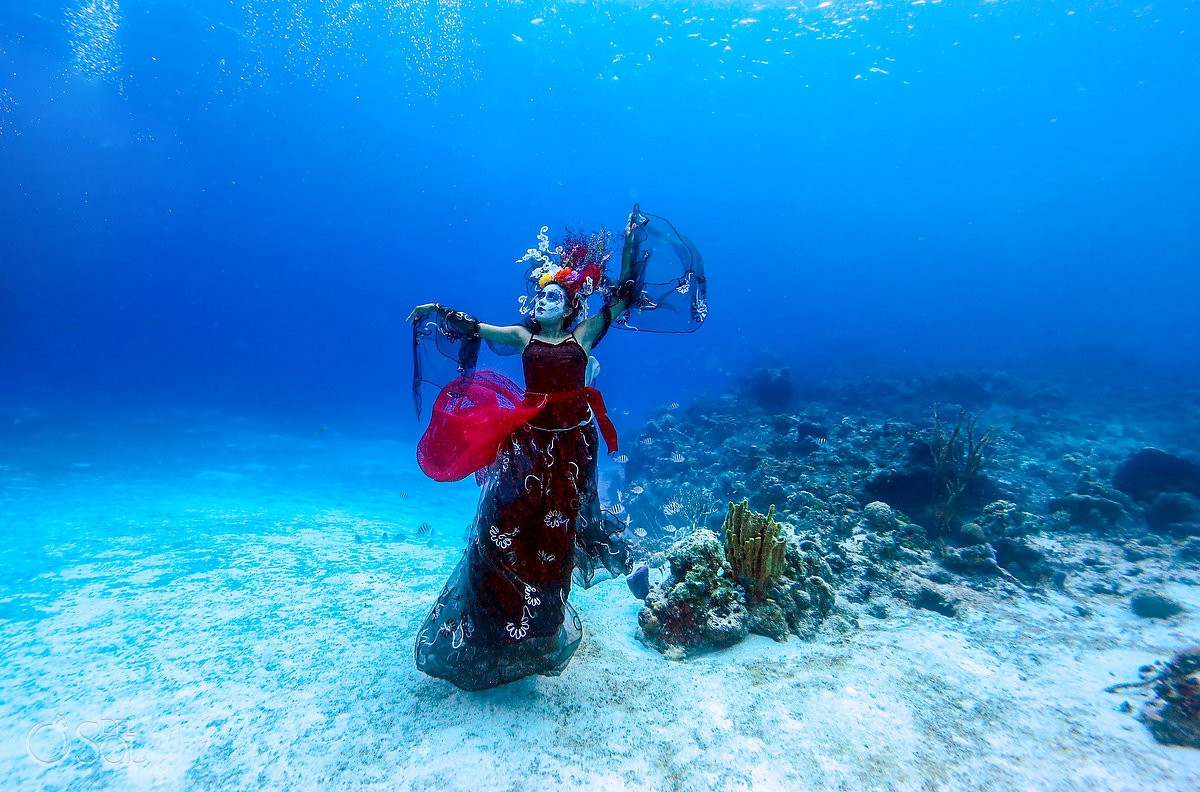 Free diver Frida Lemus Mermaid Catrina swimming next to corals in Cozumel mexico #aworldofitsown reef conservation project
