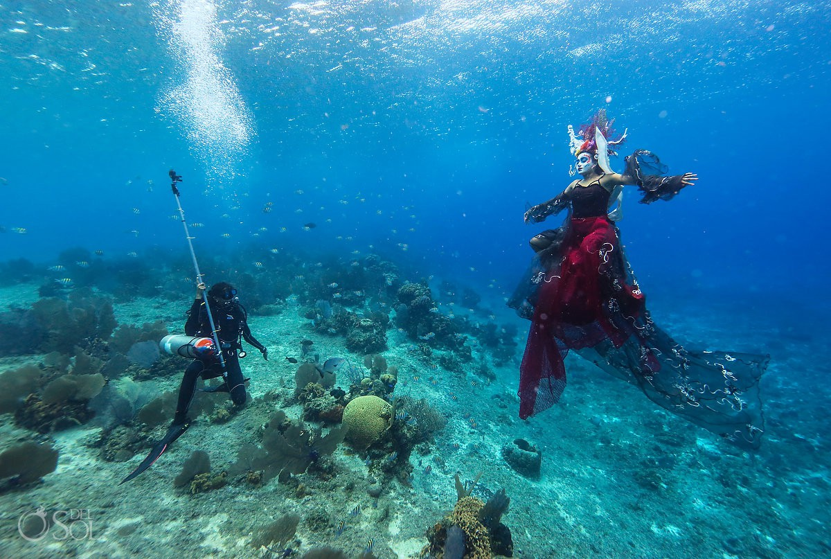 underwater day of the dead catrina mermaid swimming in cozumel mexico