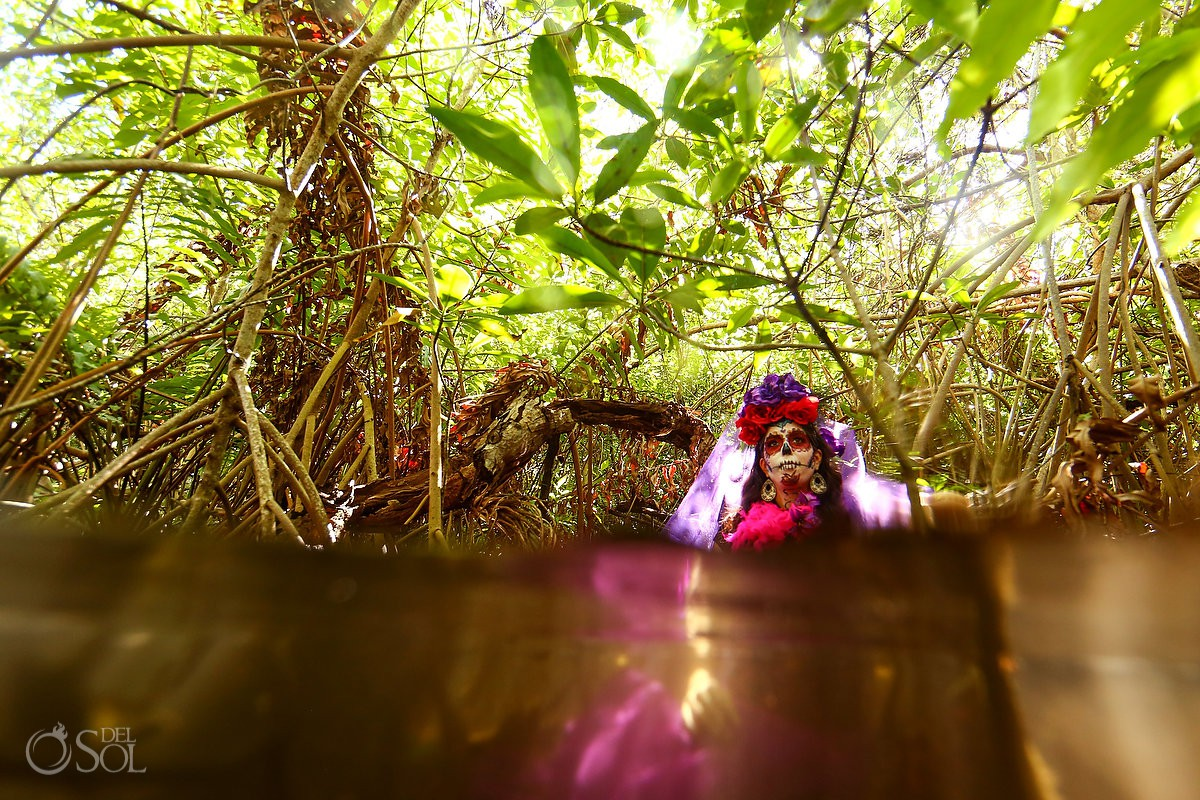 Day of the Dead Catrina surrounded by mangroves at Riviera Maya