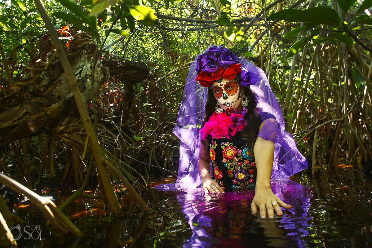Day of the Dead Catrina at mangroves in Riviera Maya