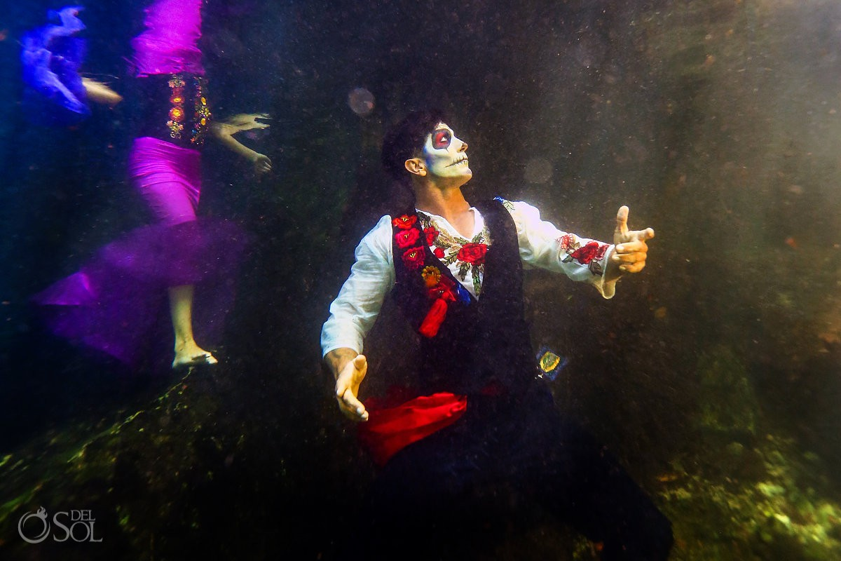 Underwater photography Day of the Dead male icon Catrin cenote Riviera Maya
