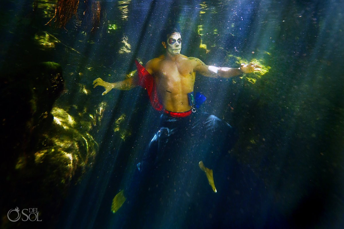 Underwater photography Day of the Dead male icon Catrin green water cenote Riviera Maya