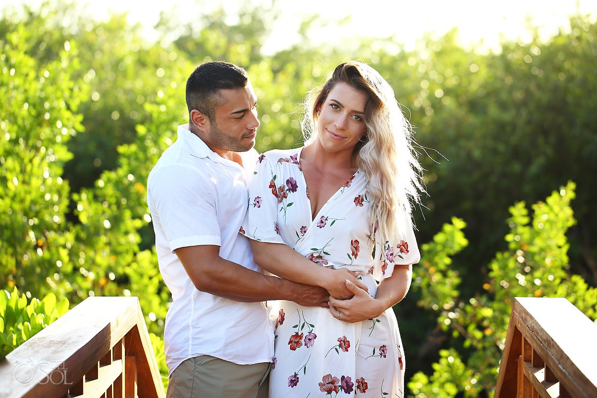 Just engaged bride groom to be sunset Andaz Mayakoba Riviera Maya surprise proposal del sol photography hotel photographer