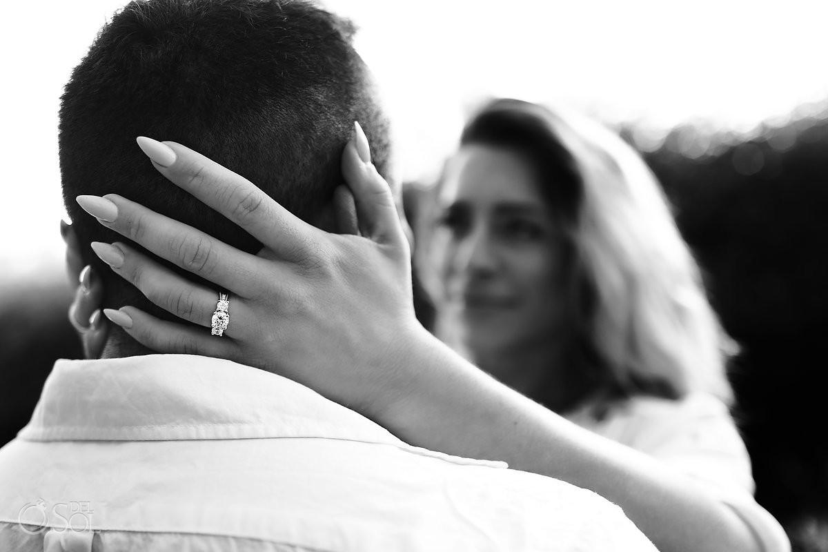 Engagement photosession at Andaz Mayakoba Riviera Maya resort surprise proposal bride to be wears engagement ring