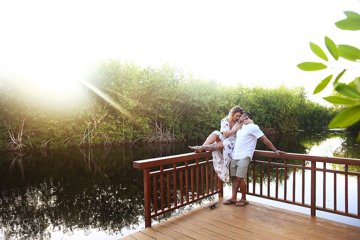 Just engaged bride groom to be at the pier sunset Andaz Mayakoba Riviera Maya surprise proposal del sol photography hotel photographer