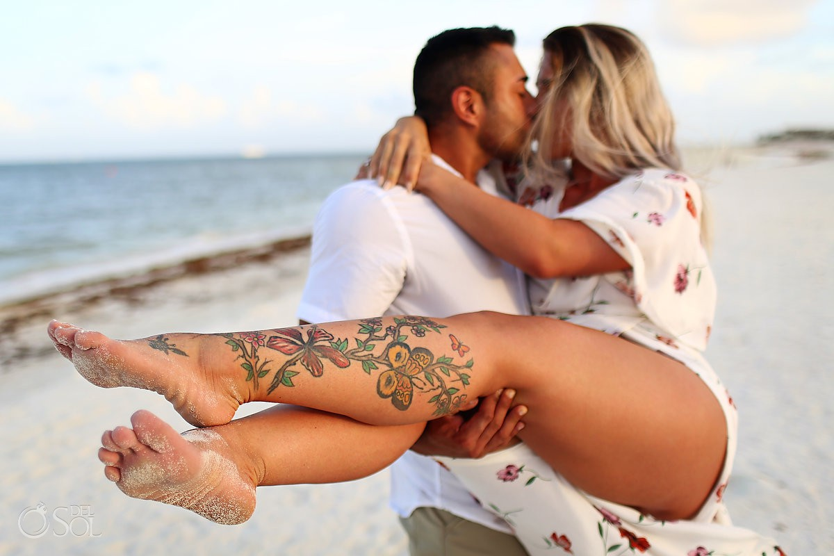 Just engaged bride groom to be sunset Andaz Mayakoba Riviera Maya surprise proposal del sol photography hotel photographer beach portraits tatoo legs sexy photography