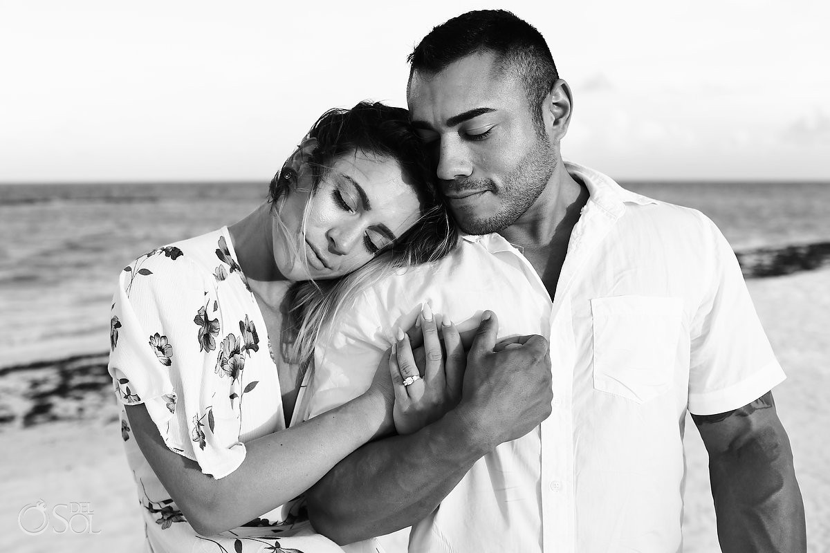 Just engaged bride groom to be sunset Andaz Mayakoba Riviera Maya surprise proposal del sol photography hotel photographer beach portraits black and white romantic portrait