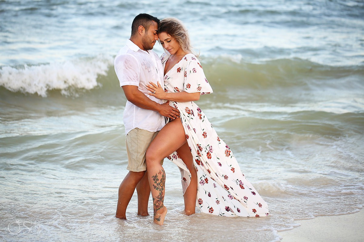 Just engaged bride groom to be sunset Andaz Mayakoba Riviera Maya surprise proposal del sol photography hotel photographer beach portraits tatoo legs sexy photography beach waves couple