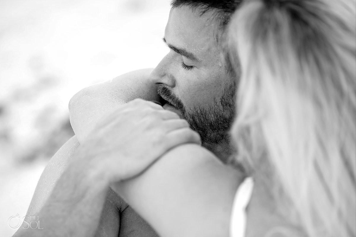 black and white sexy couples beach boudoir photo
