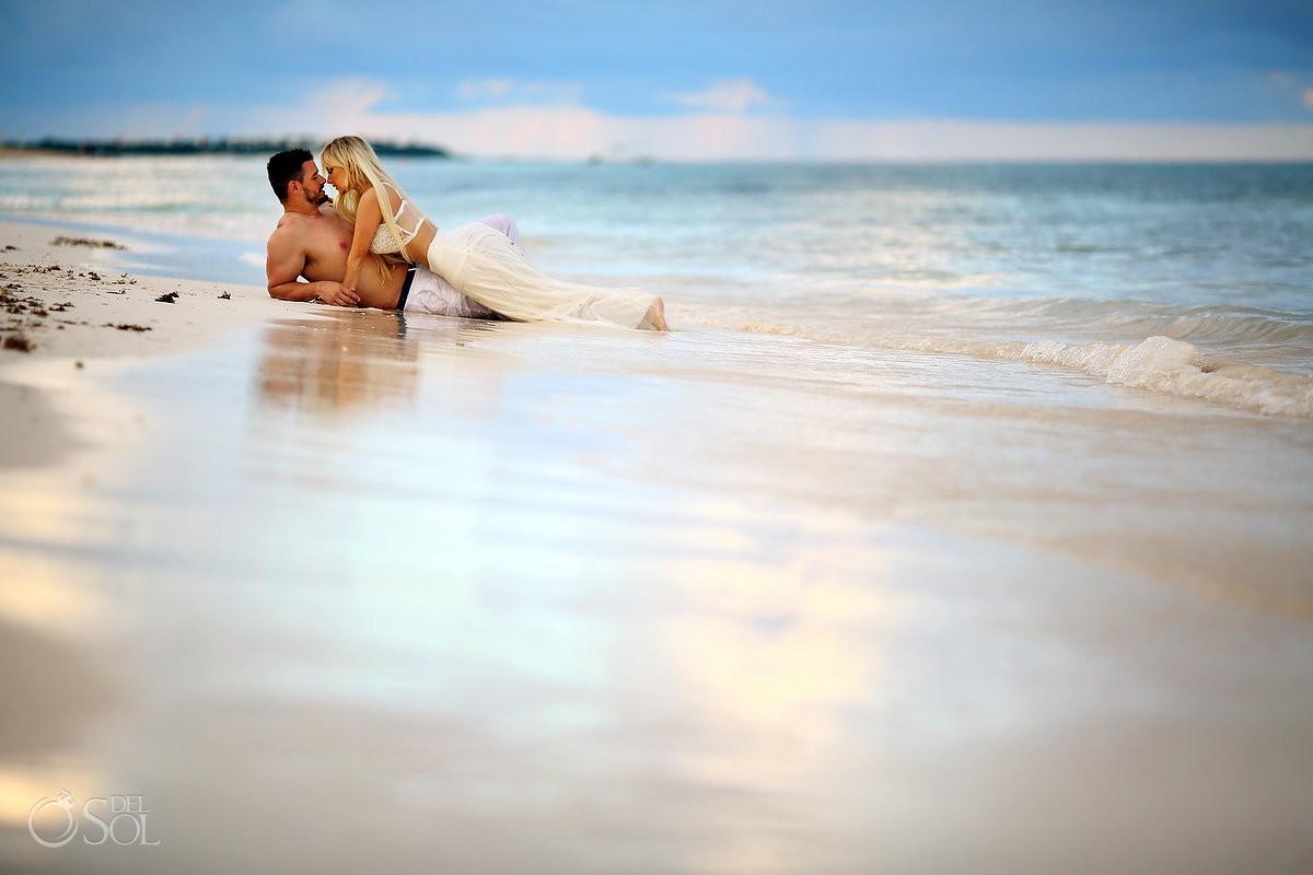 Beach trash the dress couples boudoir Dreams Tulum Mexico