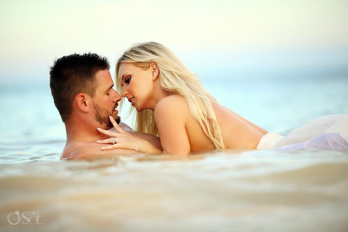 Sexy bride and groom beach trash the dress boudoir idea Dreams Tulum Mexico