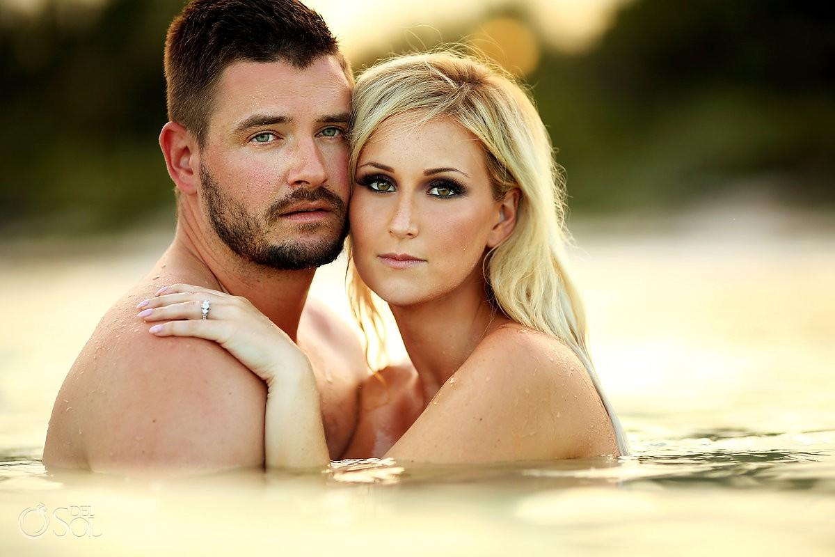 artistic beach boudoir bride and groom photo Dreams Tulum Mexico