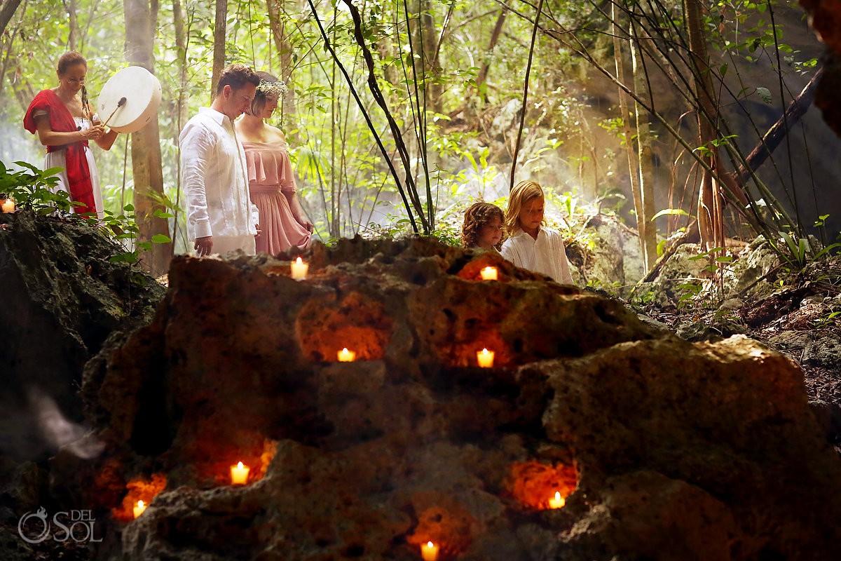 Cenote Riviera Maya Mexico family vow renewal jungle spiritual ceremony