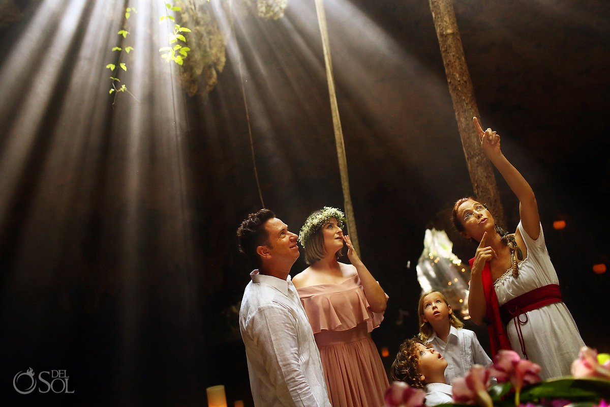 Amazing and creative light family vow renewal ceremony Cenote Riviera Maya Mexico