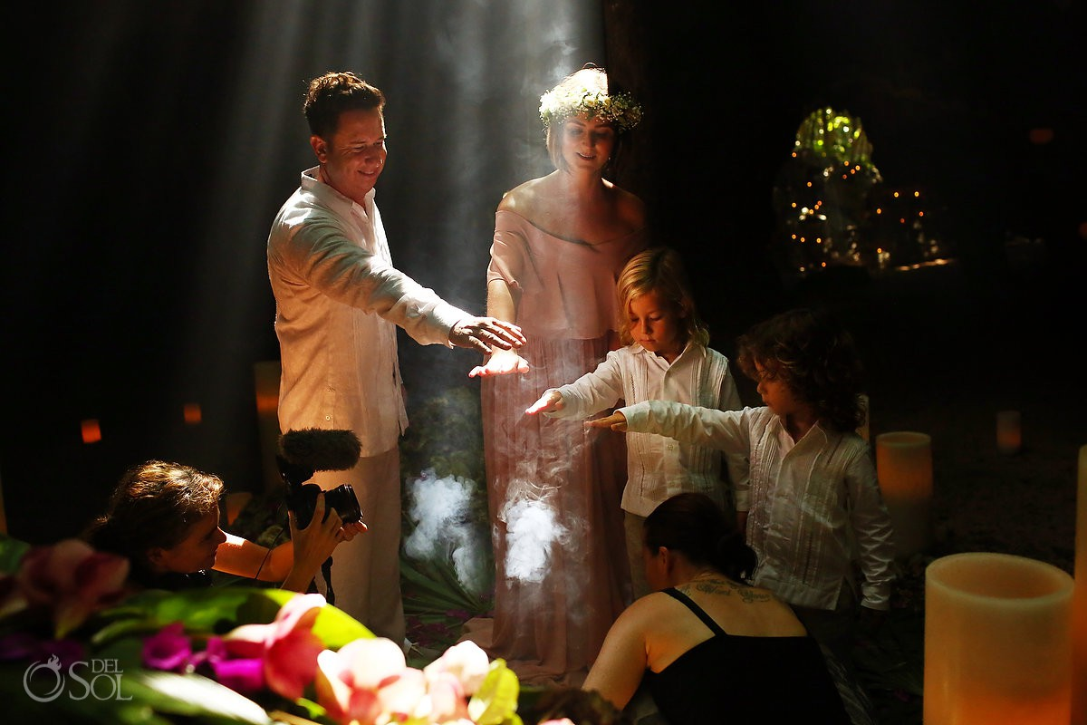 Promises of family love spiritual wedding vow renewal ceremony Cenote Riviera Maya Mexico