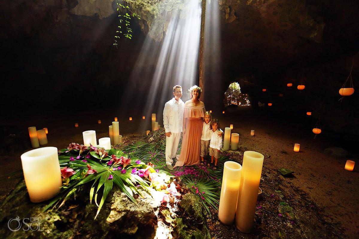 renovación de votos familiar Family Cenote Riviera Maya vow renewal Tulum Mexico