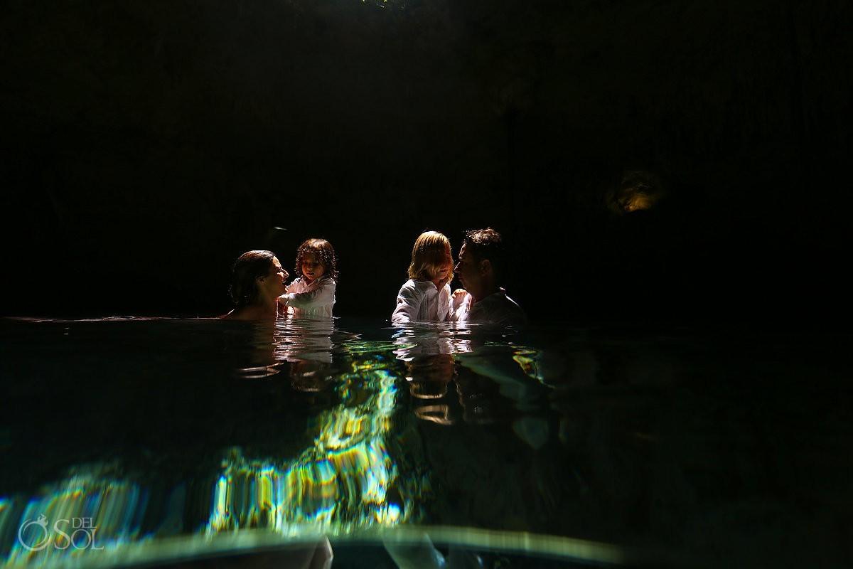 Family trash the dress Cenote Riviera Maya Mexico
