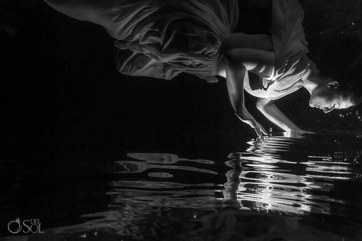 Creative black and white portrait bride water reflection vow renewal Cenote Riviera Maya Mexico underwater photography