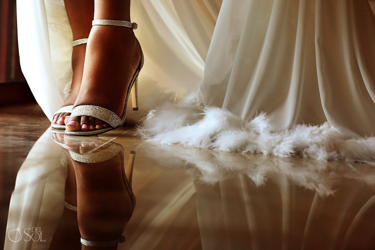 shoes detail bride getting ready Secrets Playa Mujeres Golf & Spa Resort Cancun Mexico