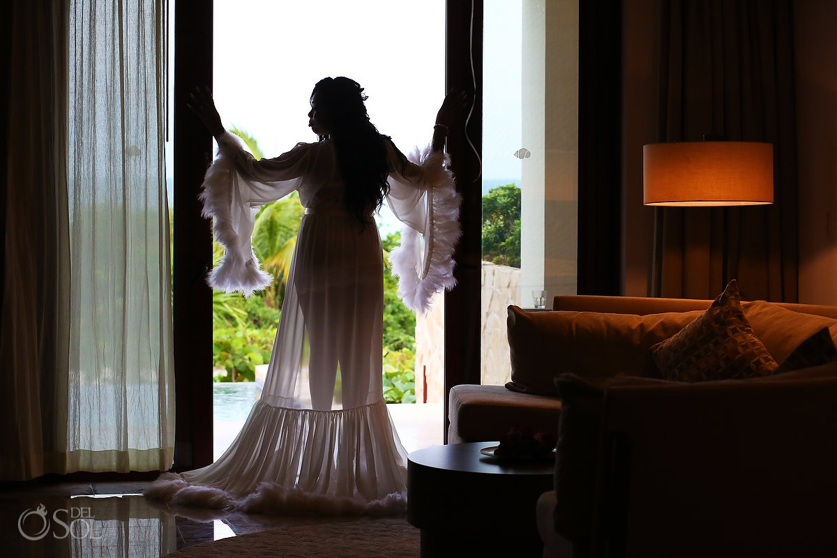 Bride silhouette getting ready destination wedding Secrets Playa Mujeres Golf & Spa Resort Cancun Mexico