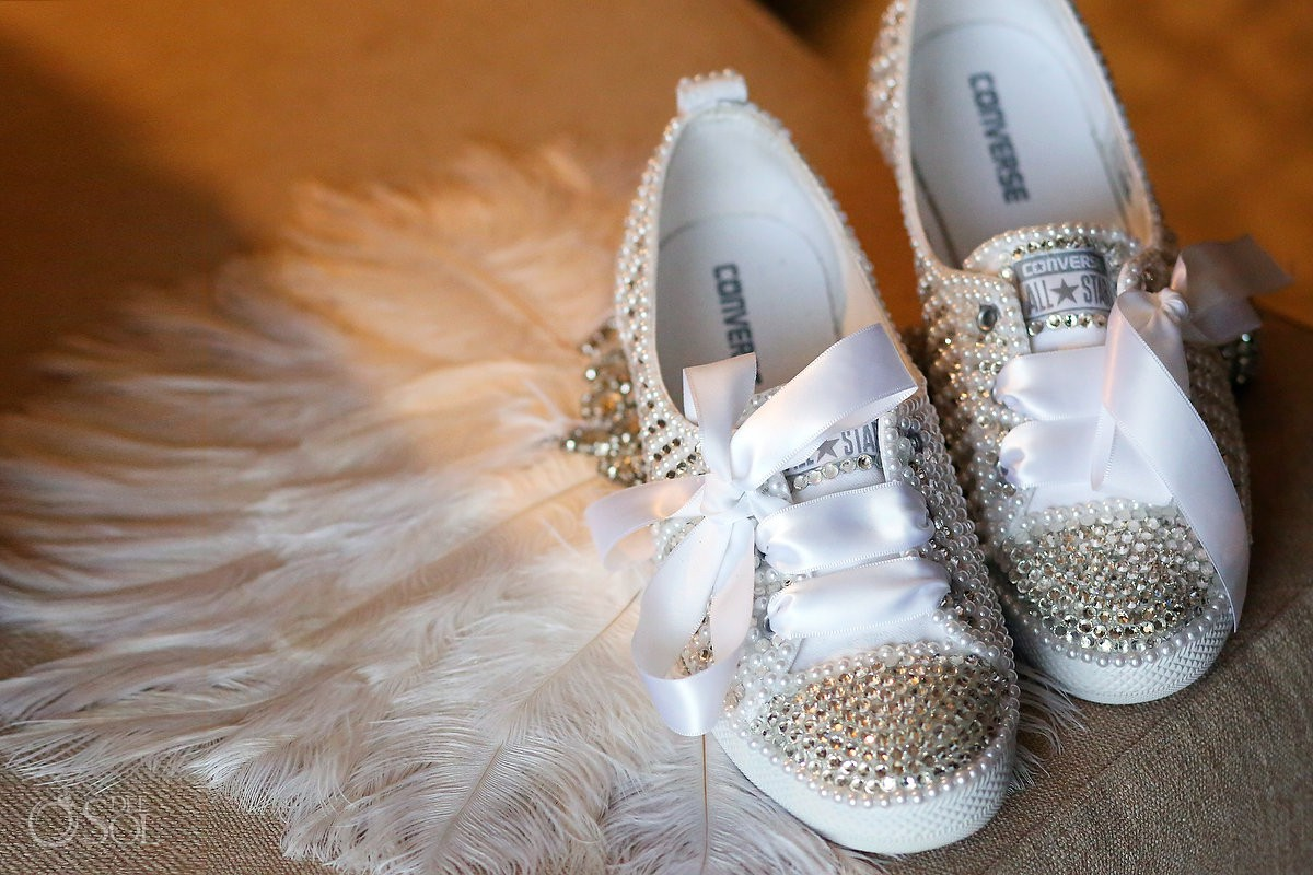 Sequins Converse wedding shoes