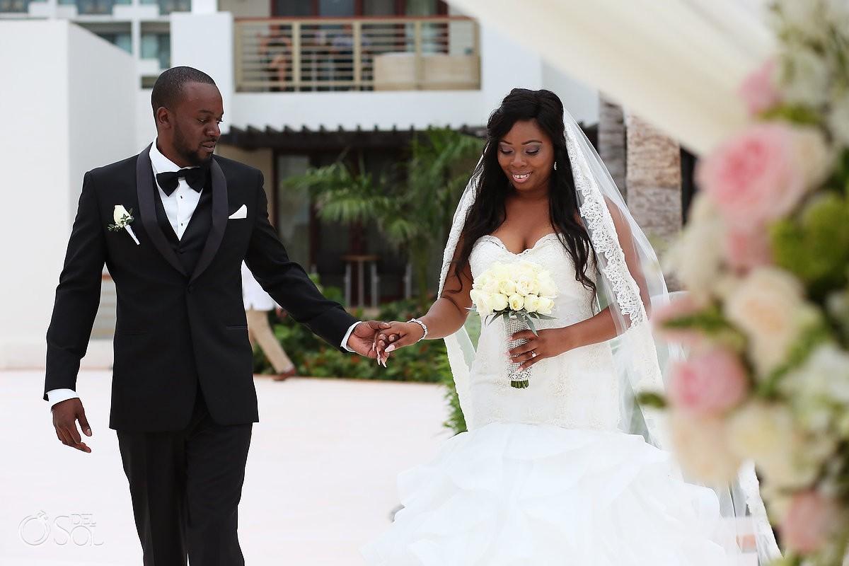 Destination elopement wedding ceremony Secrets Playa Mujeres Golf & Spa Resort Cancun Mexico