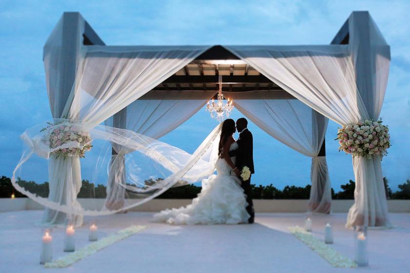 Bride and groom romantic wedding portrait Secrets Playa Mujeres Golf & Spa Resort Cancun Mexico