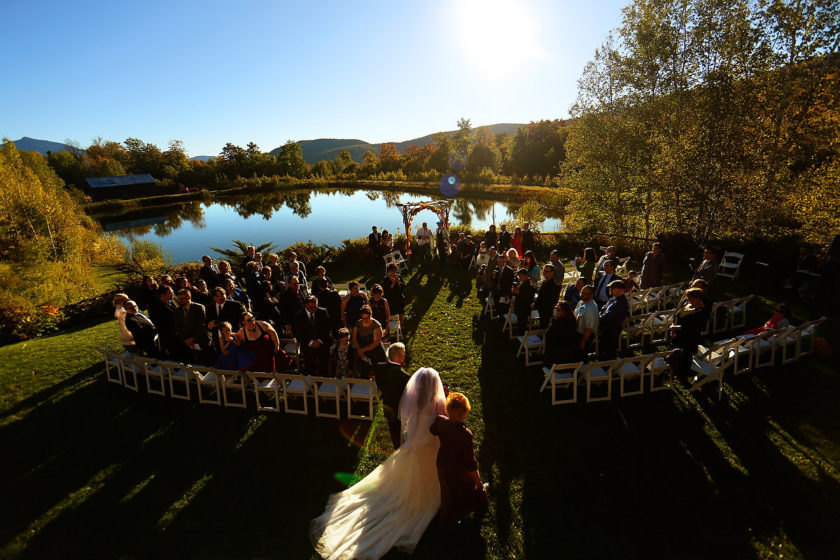 Best Vermont Wedding location ceremony at The Ponds at Bolton Valley lakefront