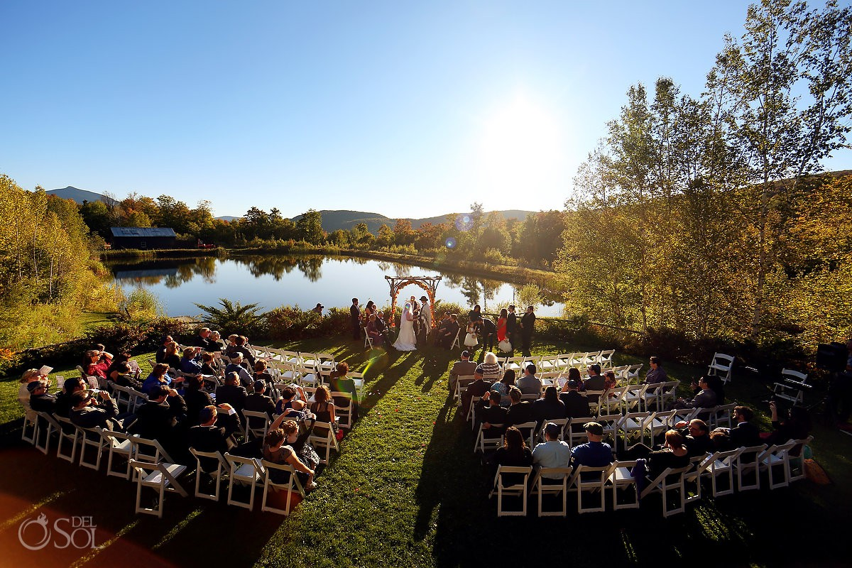 Destination wedding venue at The Ponds at Bolton Valley in Vermont - Jewish ceremony Rabbi blessing