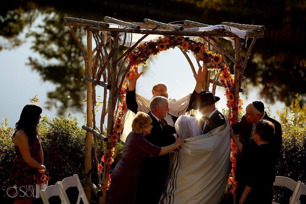Jewish wedding ceremony Rabbi blessing Bolton Valley Resort Vermont United States